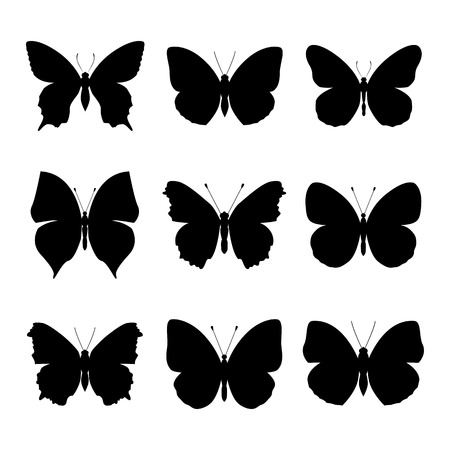 set: Butterfly silhouette