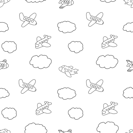 kids seamless pattern: Aircraft and clouds