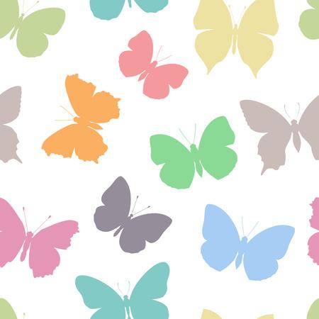 seasons cartoon: colored seamless pattern butterfly