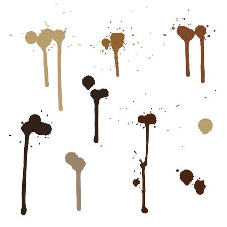 manchas de cafe: manchas de tinta. pintura, manchas de caf� Vectores