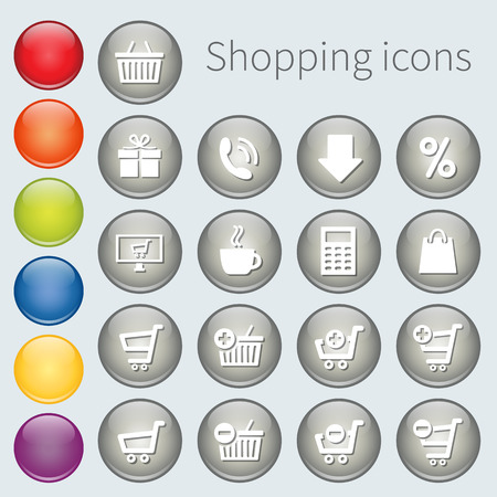 button icons: button shopping icons Illustration