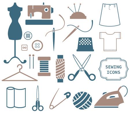 Sewing and needlework icons Ilustração