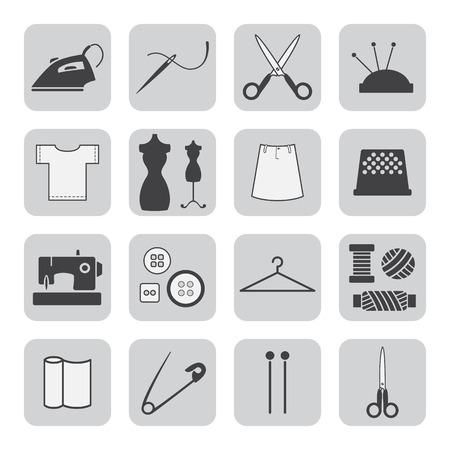 laundry hanger: Iconos de costura y bordados Vectores