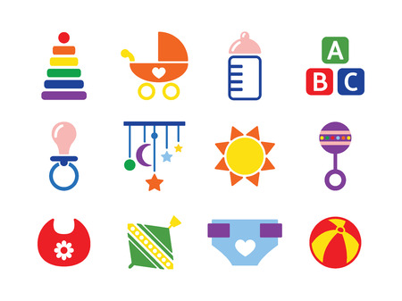 vector card with colorful baby icons Illustration