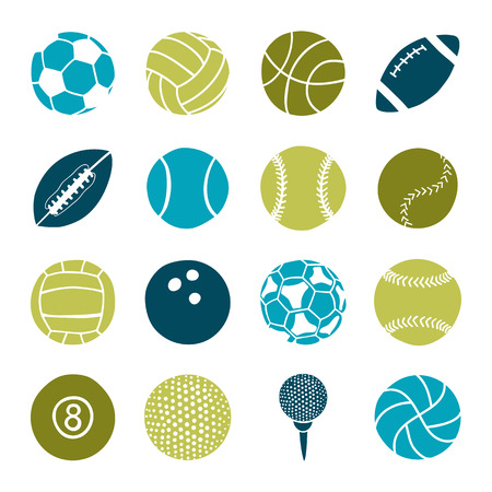 round icons: set of sports balls