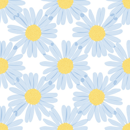 camomiles: seamless pattern - camomiles on the a white background