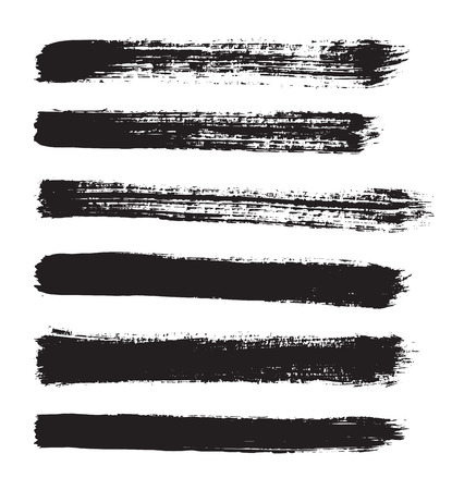 stroking: black vector strokes of paint on white background