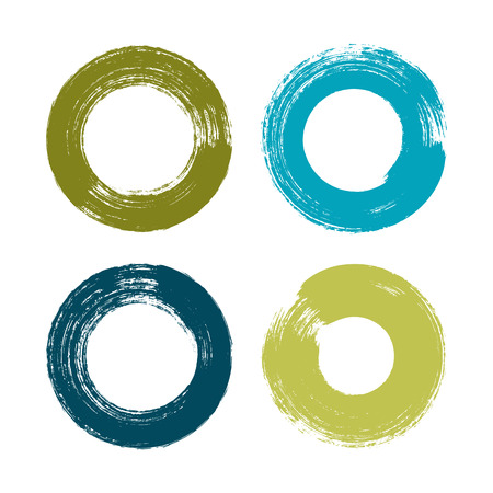 vector brush strokes circles of paint on white background Illustration