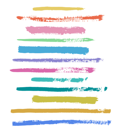 stroking: color vector brush strokes of paint on white background