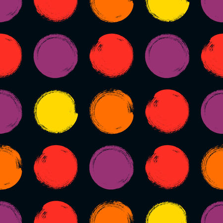 vector Seamless pattern: brush strokes circles of paint