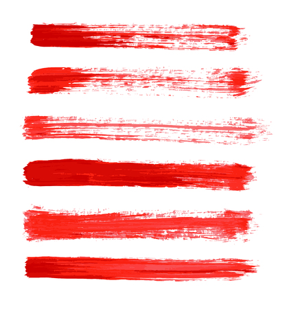 red vector strokes of paint on white background