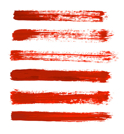 red, orange vector strokes of paint on white background