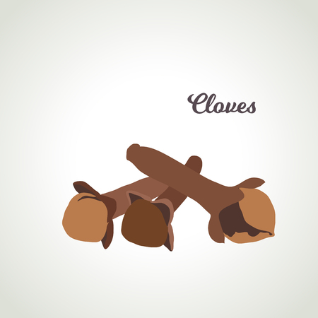 Vector - clove. Three pods on a light background