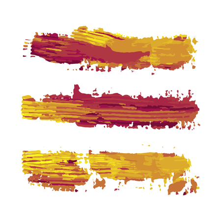 realistic color vector brush strokes of paint on white background Illustration
