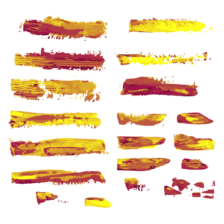 realistic color vector brush strokes of paint on white background Banco de Imagens