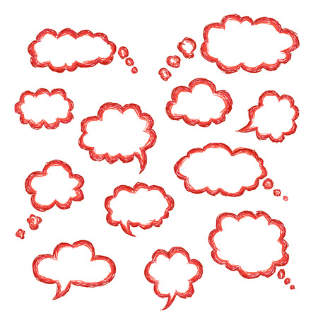Set of clouds of bubbles speech, hand-drawn colored markers Illustration