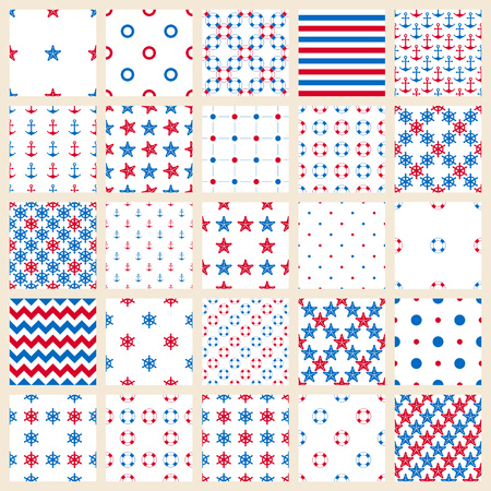 Set of seamless patterns: sea symbols, strips and the points
