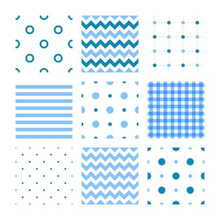 Kids set of seamless patterns: lines, stripes, dots, zigzags