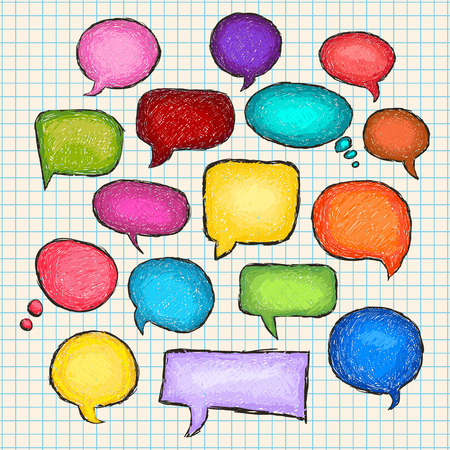 Set of bubbles speech, hand-drawn colored markers Illustration