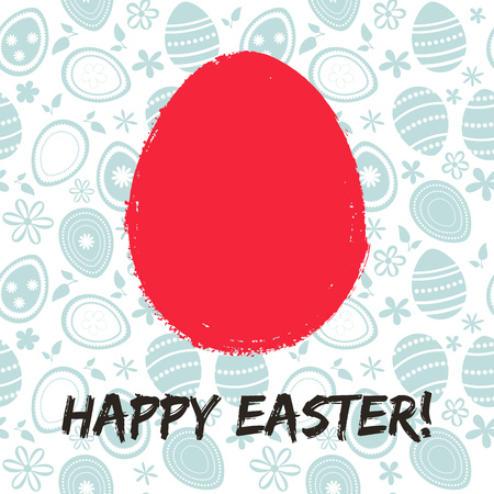 Greeting card with a happy Easter. The egg is painted with a pai