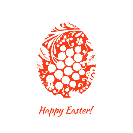Greeting card with a happy Easter. The egg is painted with a flower Ilustração