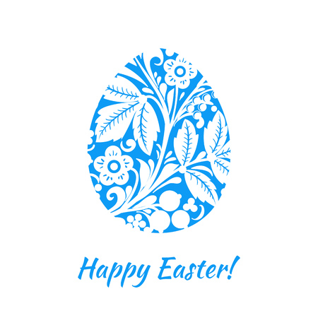 Greeting card with a happy Easter. The egg is painted with a flo Ilustração