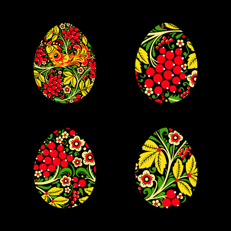 Set of eggs is painted with a flower pattern. Russian national s