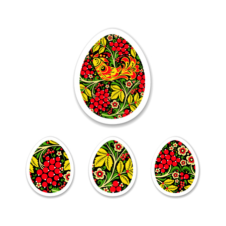 Sticker Set of eggs is painted with a flower pattern. Russian na Ilustração