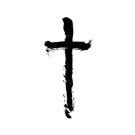 Christian religious symbol cross painted by brush