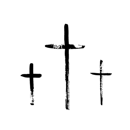 orthodoxy: Christian religious symbol cross painted by brush