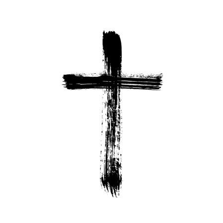 Christelijk religieus symbool kruis geschilderd met penseel Stock Illustratie