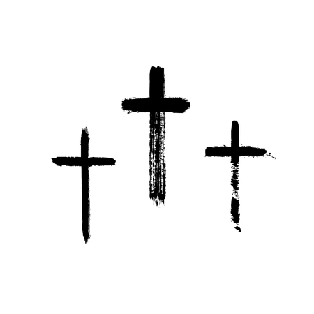 Christian Religious Symbol Cross Painted By Brush Royalty Free