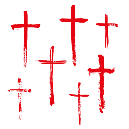 Red Christian religious symbol cross painted by brush