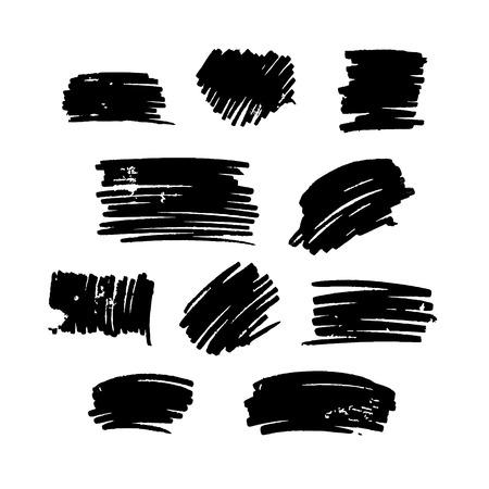 black vector  strokes of marker on white background