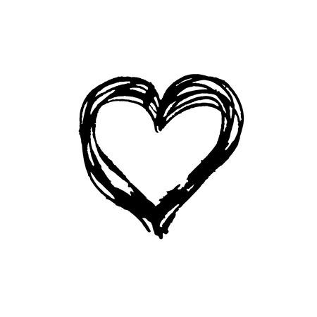 black vector strokes heart of marker on white background  Ilustração