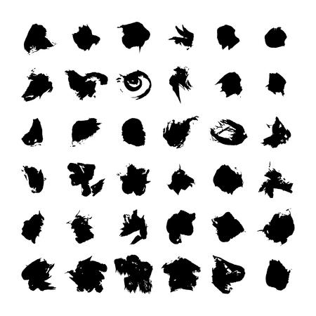black vector brush strokes of paint on white background  Ilustração