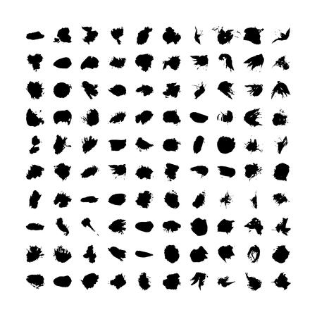 black vector brush strokes of paint on white background, smear of paint
