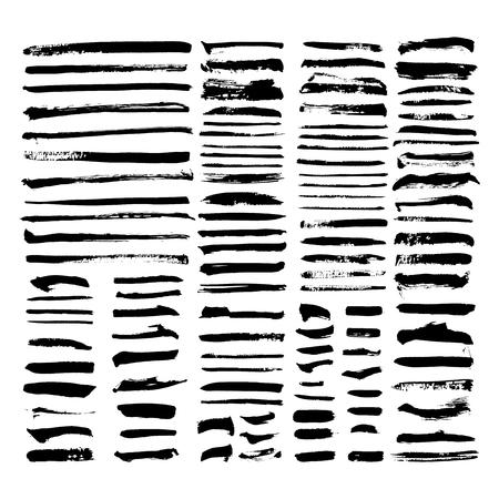 black vector brush strokes of paint on white background  Illustration