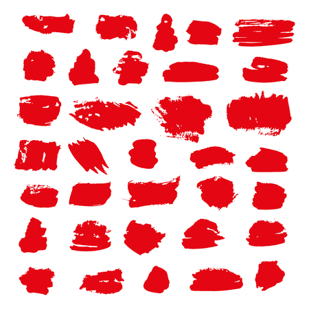 red vector brush strokes of paint on white background Stok Fotoğraf - 89688739