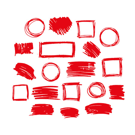 red vector  strokes of marker on white background