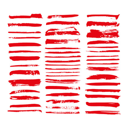 red vector brush strokes of paint on white background Stok Fotoğraf - 89688746