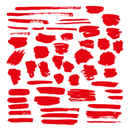 red vector brush strokes of paint on white background