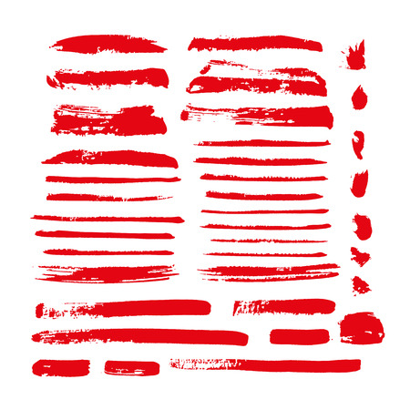 red vector brush strokes of paint on white background Stok Fotoğraf - 89688753