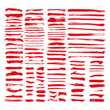 red vector brush strokes of paint on white background Stok Fotoğraf - 89688752