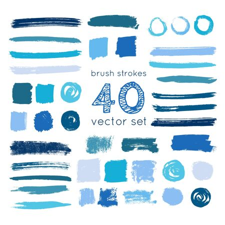 set of vector brush strokes and circles of paint on white background