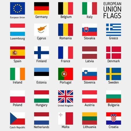 Flags of the countries of the European Union. EU flags. Vector set Ilustrace