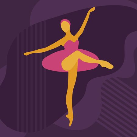 Dancing ballerina drawn in a flat style. Cartoon character ballerina in a dance pose. Vector illustration