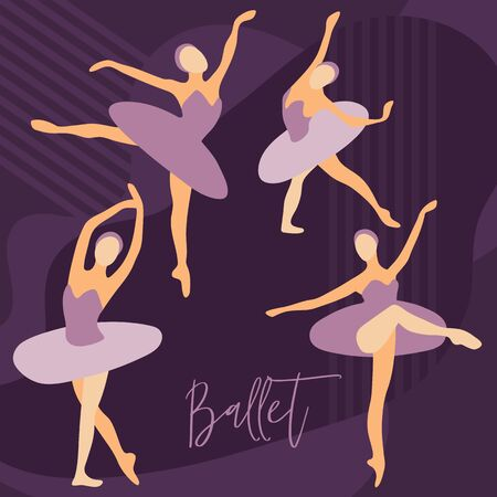 Dancing ballerinas drawn in a flat style. Cartoon character of a ballerina in different dance poses. Vector illustration Vettoriali