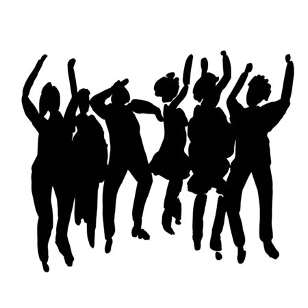 Vector - hand drawn watercolor illustration. Dancing people. People shaped watercolor stains Vettoriali