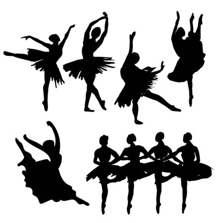 Hand-drawn watercolor illustration: set of dancing ballerinas. Vector black silhouette Vettoriali